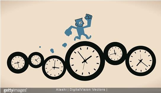 dessin homme court sur horloges